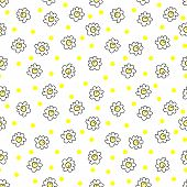 Simple Seamless Vector Background Chamomile Drawing, Yellow, Flowers Simple, Easy Simple Drawing Bac poster