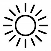 Sun Line Icon. Shining Sun Vector Illustration Isolated On White. Sun And Rays Outline Style Design, poster