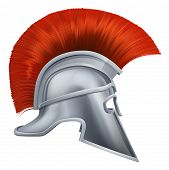 pic of hoplite  - Illustration of side on Spartan helmet or Trojan helmet also called a Corinthian helmet - JPG