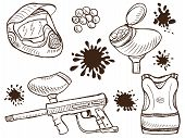 picture of paintball  - Illustration of paintball equipment and splash  - JPG