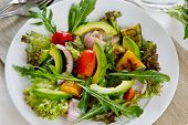 pic of rocket salad  - Grilled varieties of vegetables with avocado salad - JPG