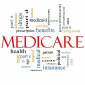 stock photo of medicare  - Medicare Word Cloud Concept with great terms such as health care advantage hospital tax enrollment part d and more - JPG