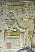 image of sceptre  - Bas relief carving of the ancient Egyptian god Amun - JPG