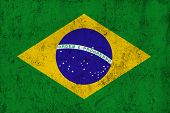 picture of frazzled  - Grunge Dirty and Weathered Brazilian Flag Old Metal Textured - JPG