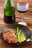 pic of barbary duck  - Duck breast with asparagus and red wine - JPG