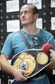 ODESSA, UKRAINE - JULY 21: Vyacheslav Uzelkov after the fight with Mohamed Belkacem for WBO Inter-Co