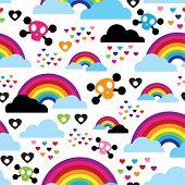 pic of emo  - Seamless teenage emo rainbow skull background pattern in vector - JPG