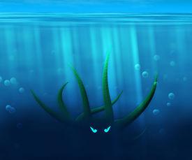 foto of kraken  - Green Kraken in Water Background Image Texture - JPG
