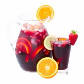 picture of sangria  - jar  and tall glass of cold sangria wine isolated on white background - JPG