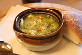 picture of wanton  - Soup in a crock with Roll and spoon - JPG