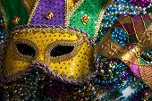 stock photo of mardi-gras  - A group of mardi gras beads an mask with copy space - JPG
