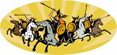 image of valkyrie  - Illustration of valkyrie of Norse mythology female rider warriors riding horse with spear set inside oval with sunburst done in retro style - JPG