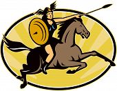 foto of valkyrie  - Illustration of valkyrie of Norse mythology female rider warriors riding horse with spear set inside oval with sunburst done in retro style - JPG