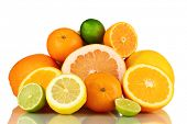 pic of pamelo  - Lots ripe citrus isolated on white - JPG