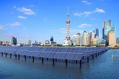 Shanghai Bund Skyline Landmark At Ecological Energy Solar Panel poster