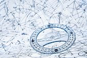 foto of protractor  - Protractor on the background of mathematical formulas and algorithms - JPG