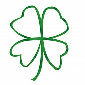 stock photo of four leaf clover  - a four leaf clover made with a ribbon - JPG