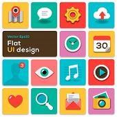 Flacher UI-Design-Trend set Symbole