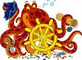 pic of devilfish  - Big spotted octopus with a steering wheel - JPG