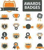 awards, badges, trophy, labels, achievement, victory, icons, signs set, vector