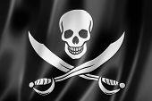 stock photo of rebel flag  - Pirate flag Jolly Roger three dimensional render satin texture - JPG