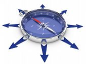 stock photo of orientation  - One compass in the middle of a circle of arrow pointing in different directions image suitable for help concept or opportunities management - JPG