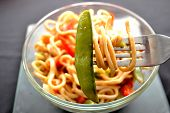 picture of lo mein  - Pea pod on a fork - JPG