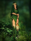stock photo of pixie  - a deep forest fairy with a lantern in her hand - JPG