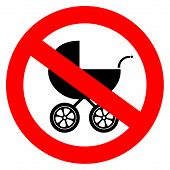 pic of kiddy  - Vector no baby carriage sign isolated on white background - JPG