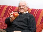 Senior With Apple