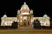 stock photo of yugoslavia  - Serbian Parliament building in Belgrade at night - JPG