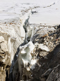 stock photo of skardu  - Crevasse at Vigne Glacier in the Karakorum in Pakistan - JPG
