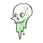 image of grossed out  - gross halloween skull cartoon - JPG