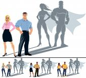 stock photo of average man  - Conceptual illustration of ordinary couple with superhero shadow - JPG
