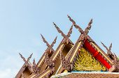 stock photo of gable-roof  - Wood gable roof on Thai temple - JPG