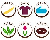 picture of semi-circle  - Detailed and colorful illustration of fair trade products - JPG
