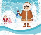 stock photo of eskimos  - eskimos family on winter landscape  abstract background  - JPG