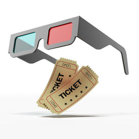 stock photo of matinee  - Stereo  glasses and movie tickets isolated on a white background - JPG