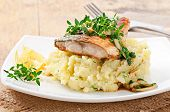 picture of mashed potatoes  - Fried fish with mashed potatoes on plate - JPG