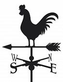 stock photo of wind vanes  - rooster weather vane on a white background - JPG