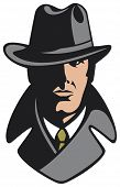picture of private detective  - private detective with hat vector illustration on white background - JPG