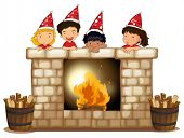 picture of playmate  - Illustration of the playful kids at the fireplace on a white background - JPG