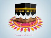 pic of ramadan mubarak card  - Illustration of Qaba Sharif on colourful floral decorated blue background - JPG