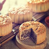 pic of mid autumn  - Retro vintage style Chinese mid autumn festival foods - JPG