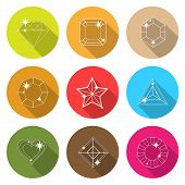 stock photo of octagon shape  - Gem stone cutting flat icons with long shadow stock vector - JPG
