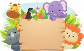 Постер, плакат: Illustration Featuring Cute Safari Animals Holding a Blank Wooden Sign