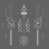 pic of rune  - geometric illustration style mystical signs linear style - JPG