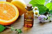 stock photo of massage oil  - massage oils for aromatherapy with fruits and herbs - JPG