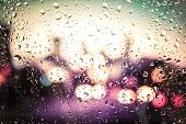 image of raindrops  - raindrops on glass - JPG
