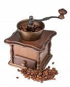 foto of wooden box from coffee mill  - Vintage coffee grinder with coffee on white background - JPG